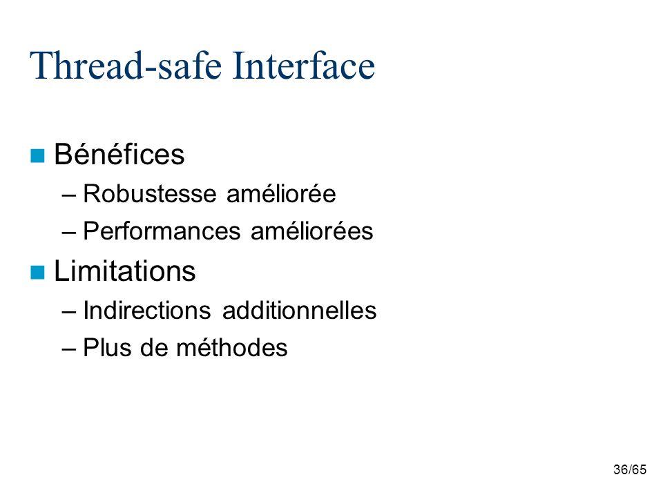 36/65 Thread-safe Interface Bénéfices –Robustesse améliorée –Performances améliorées Limitations –Indirections additionnelles –Plus de méthodes