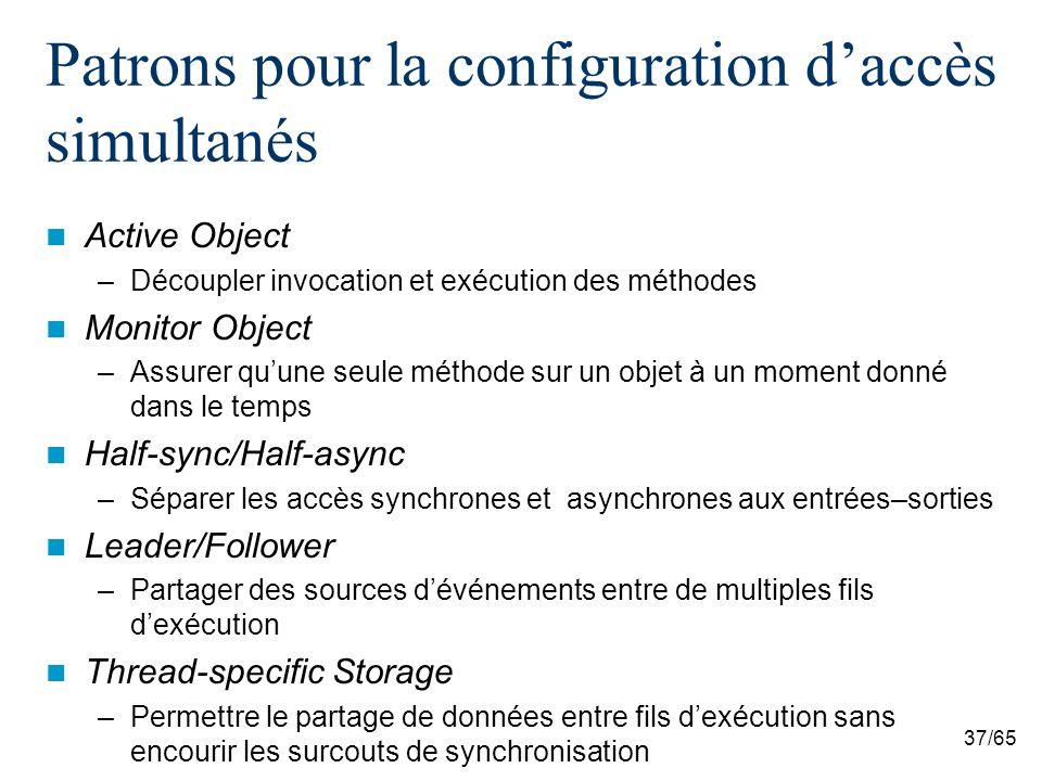 37/65 Patrons pour la configuration daccès simultanés Active Object –Découpler invocation et exécution des méthodes Monitor Object –Assurer quune seul