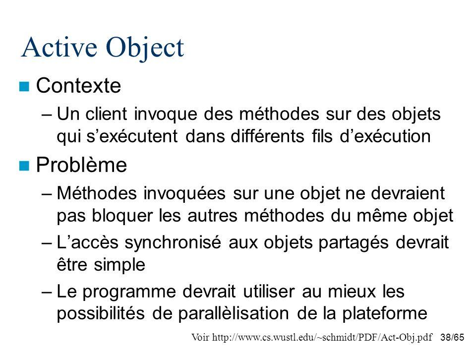 38/65 Active Object Contexte –Un client invoque des méthodes sur des objets qui sexécutent dans différents fils dexécution Problème –Méthodes invoquées sur une objet ne devraient pas bloquer les autres méthodes du même objet –Laccès synchronisé aux objets partagés devrait être simple –Le programme devrait utiliser au mieux les possibilités de parallèlisation de la plateforme Voir http://www.cs.wustl.edu/~schmidt/PDF/Act-Obj.pdf