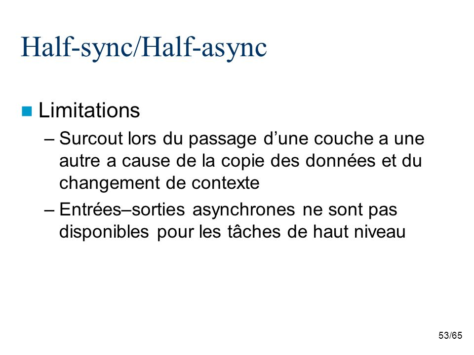 53/65 Half-sync/Half-async Limitations –Surcout lors du passage dune couche a une autre a cause de la copie des données et du changement de contexte –