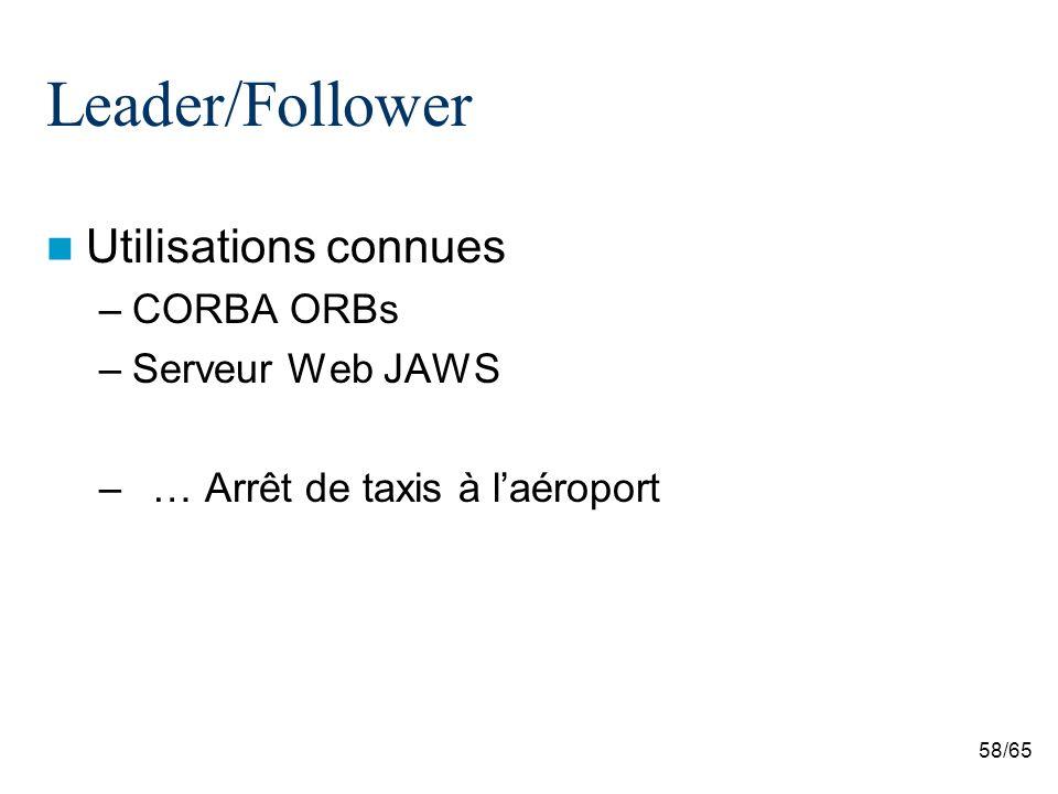 58/65 Leader/Follower Utilisations connues –CORBA ORBs –Serveur Web JAWS –… Arrêt de taxis à laéroport