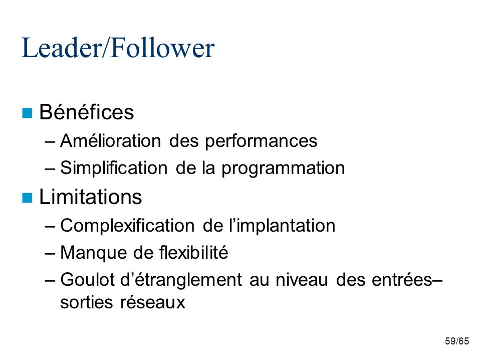 59/65 Leader/Follower Bénéfices –Amélioration des performances –Simplification de la programmation Limitations –Complexification de limplantation –Man