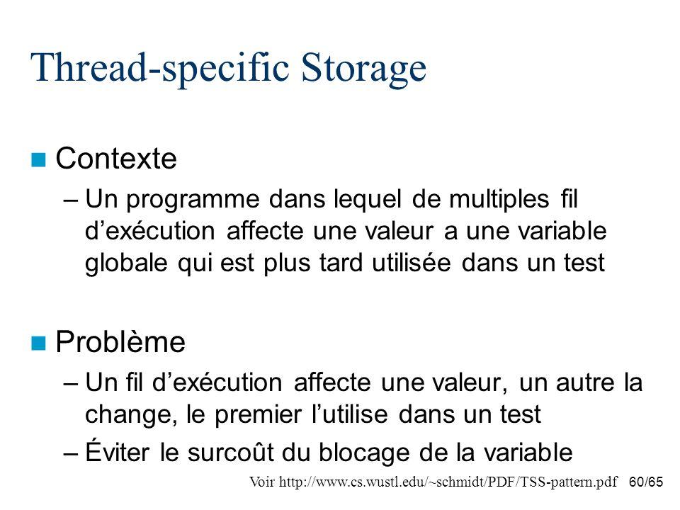 60/65 Thread-specific Storage Contexte –Un programme dans lequel de multiples fil dexécution affecte une valeur a une variable globale qui est plus ta