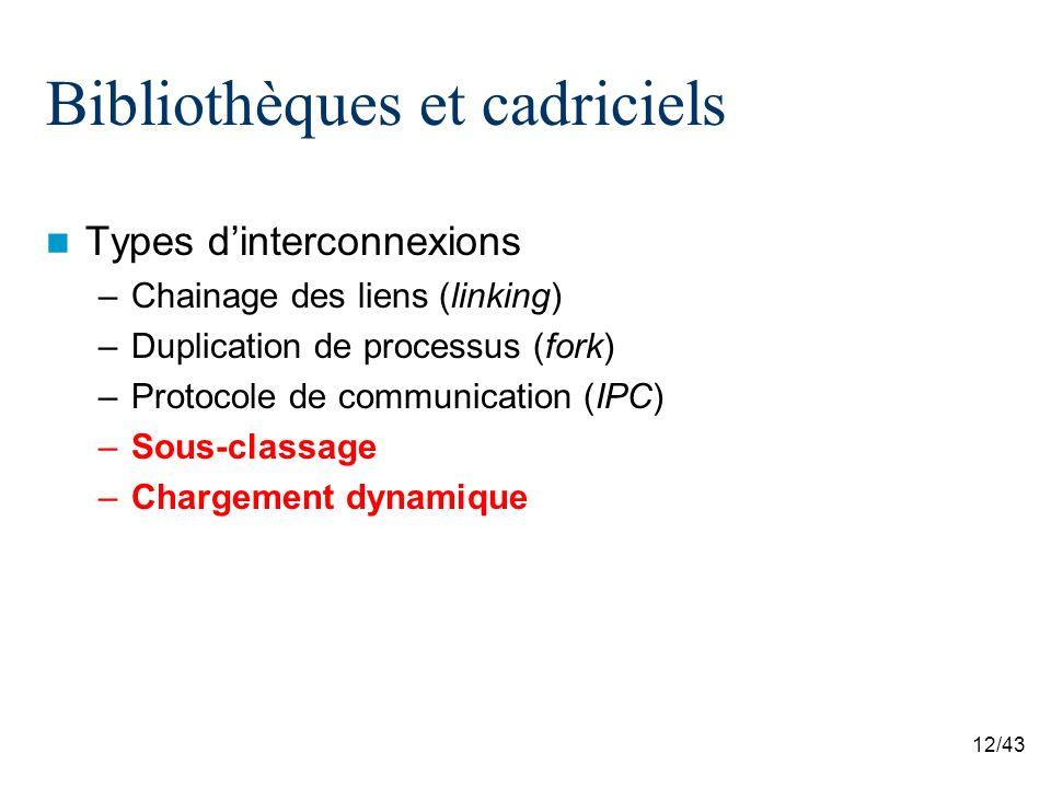 12/43 Bibliothèques et cadriciels Types dinterconnexions –Chainage des liens (linking) –Duplication de processus (fork) –Protocole de communication (IPC) –Sous-classage –Chargement dynamique
