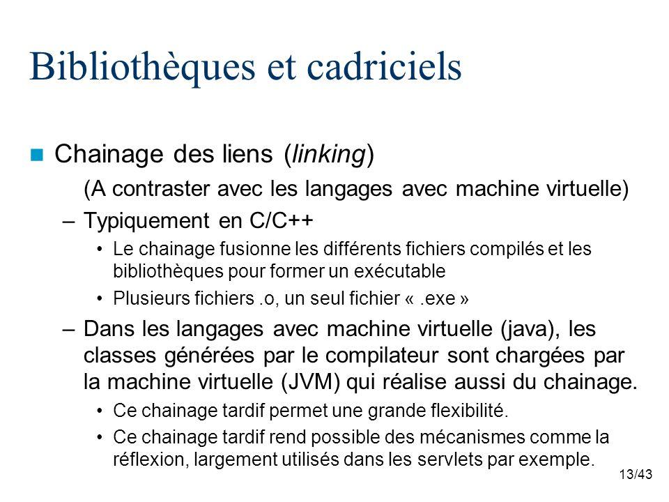 13/43 Bibliothèques et cadriciels Chainage des liens (linking) (A contraster avec les langages avec machine virtuelle) –Typiquement en C/C++ Le chainage fusionne les différents fichiers compilés et les bibliothèques pour former un exécutable Plusieurs fichiers.o, un seul fichier «.exe » –Dans les langages avec machine virtuelle (java), les classes générées par le compilateur sont chargées par la machine virtuelle (JVM) qui réalise aussi du chainage.