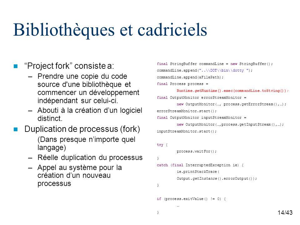 14/43 Bibliothèques et cadriciels Project fork consiste a: –Prendre une copie du code source d une bibliothèque et commencer un développement indépendant sur celui-ci.
