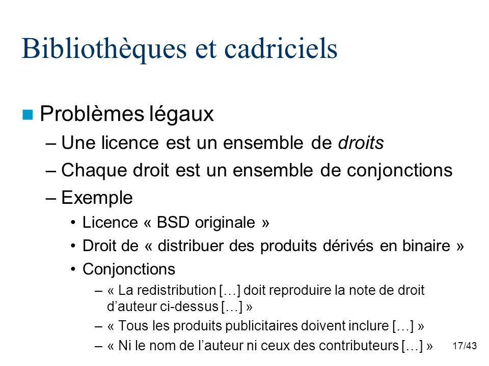 17/43 Bibliothèques et cadriciels Problèmes légaux –Une licence est un ensemble de droits –Chaque droit est un ensemble de conjonctions –Exemple Licence « BSD originale » Droit de « distribuer des produits dérivés en binaire » Conjonctions –« La redistribution […] doit reproduire la note de droit dauteur ci-dessus […] » –« Tous les produits publicitaires doivent inclure […] » –« Ni le nom de lauteur ni ceux des contributeurs […] »