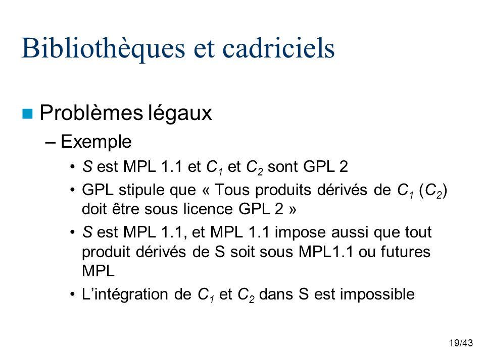 19/43 Bibliothèques et cadriciels Problèmes légaux –Exemple S est MPL 1.1 et C 1 et C 2 sont GPL 2 GPL stipule que « Tous produits dérivés de C 1 (C 2 ) doit être sous licence GPL 2 » S est MPL 1.1, et MPL 1.1 impose aussi que tout produit dérivés de S soit sous MPL1.1 ou futures MPL Lintégration de C 1 et C 2 dans S est impossible