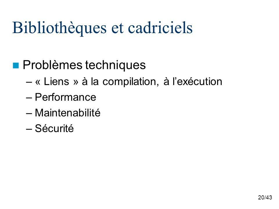 20/43 Bibliothèques et cadriciels Problèmes techniques –« Liens » à la compilation, à lexécution –Performance –Maintenabilité –Sécurité