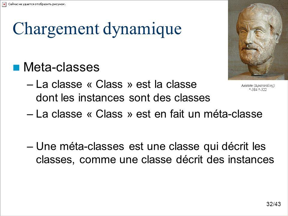 32/43 Chargement dynamique Meta-classes –La classe « Class » est la classe dont les instances sont des classes –La classe « Class » est en fait un méta-classe –Une méta-classes est une classe qui décrit les classes, comme une classe décrit des instances Aristote ( ριστοτέλης) *-384 -322