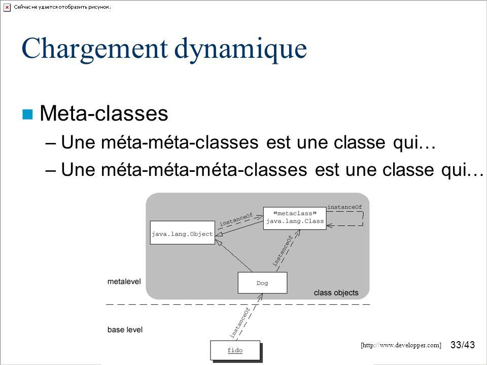 33/43 Chargement dynamique Meta-classes –Une méta-méta-classes est une classe qui… –Une méta-méta-méta-classes est une classe qui… [http://www.developper.com]