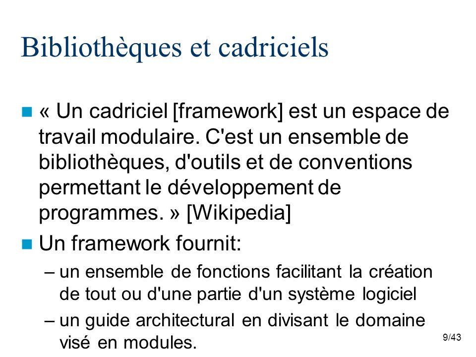 9/43 Bibliothèques et cadriciels « Un cadriciel [framework] est un espace de travail modulaire.
