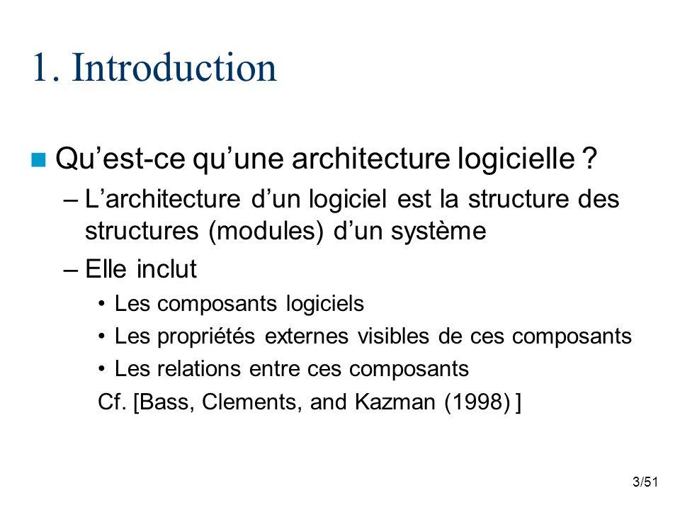 3/51 1. Introduction Quest-ce quune architecture logicielle ? –Larchitecture dun logiciel est la structure des structures (modules) dun système –Elle