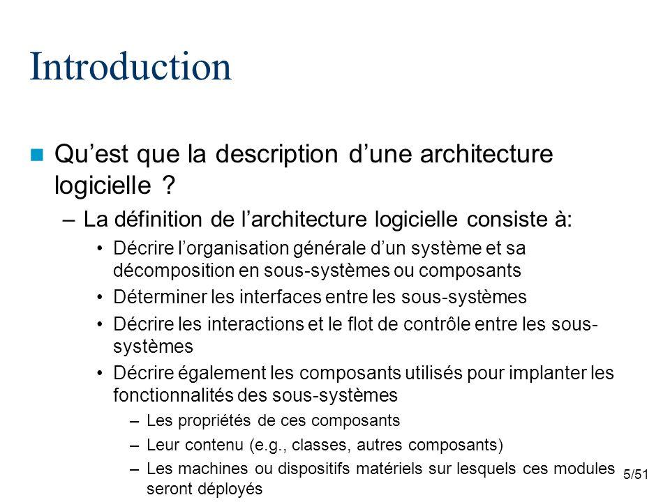 5/51 Introduction Quest que la description dune architecture logicielle ? –La définition de larchitecture logicielle consiste à: Décrire lorganisation