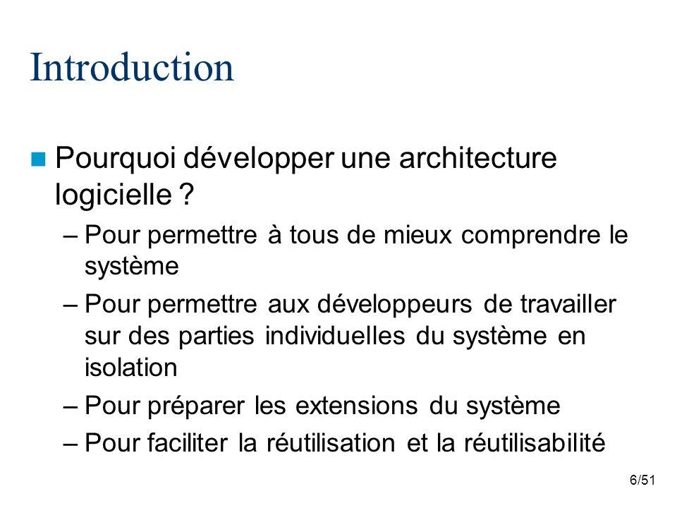 6/51 Introduction Pourquoi développer une architecture logicielle ? –Pour permettre à tous de mieux comprendre le système –Pour permettre aux développ