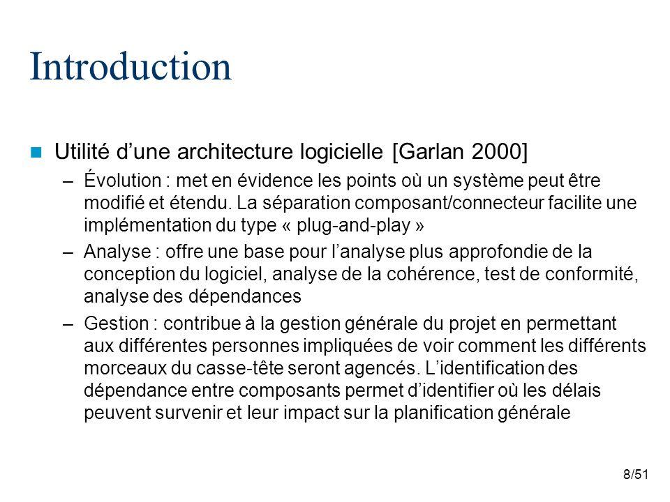 8/51 Introduction Utilité dune architecture logicielle [Garlan 2000] –Évolution : met en évidence les points où un système peut être modifié et étendu