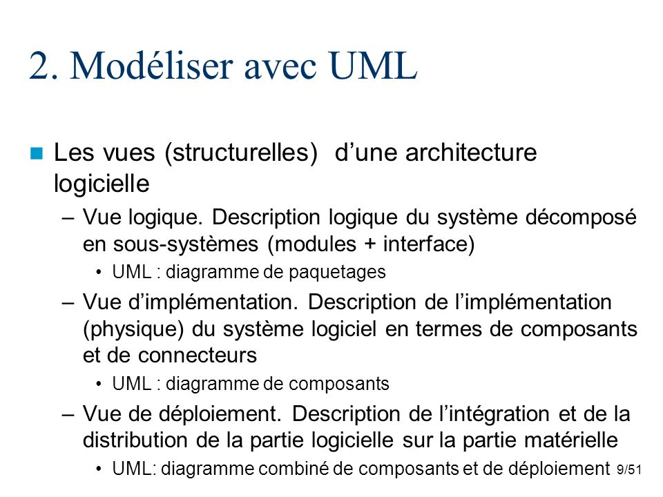 9/51 2. Modéliser avec UML Les vues (structurelles) dune architecture logicielle –Vue logique. Description logique du système décomposé en sous-systèm