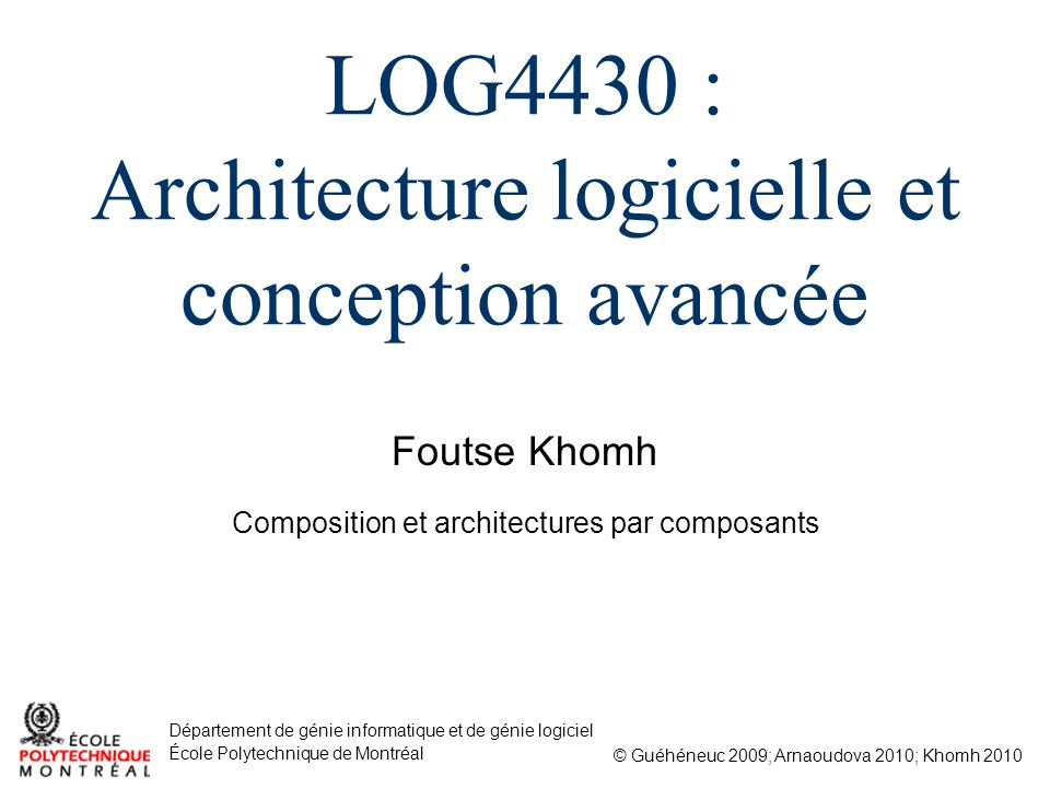 2/75 Composition et architectures par composants 1.