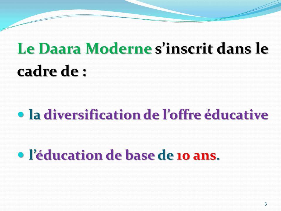 Le Daara Moderne sinscrit dans le cadre de : la diversification de loffre éducative la diversification de loffre éducative léducation de base de 10 ans.