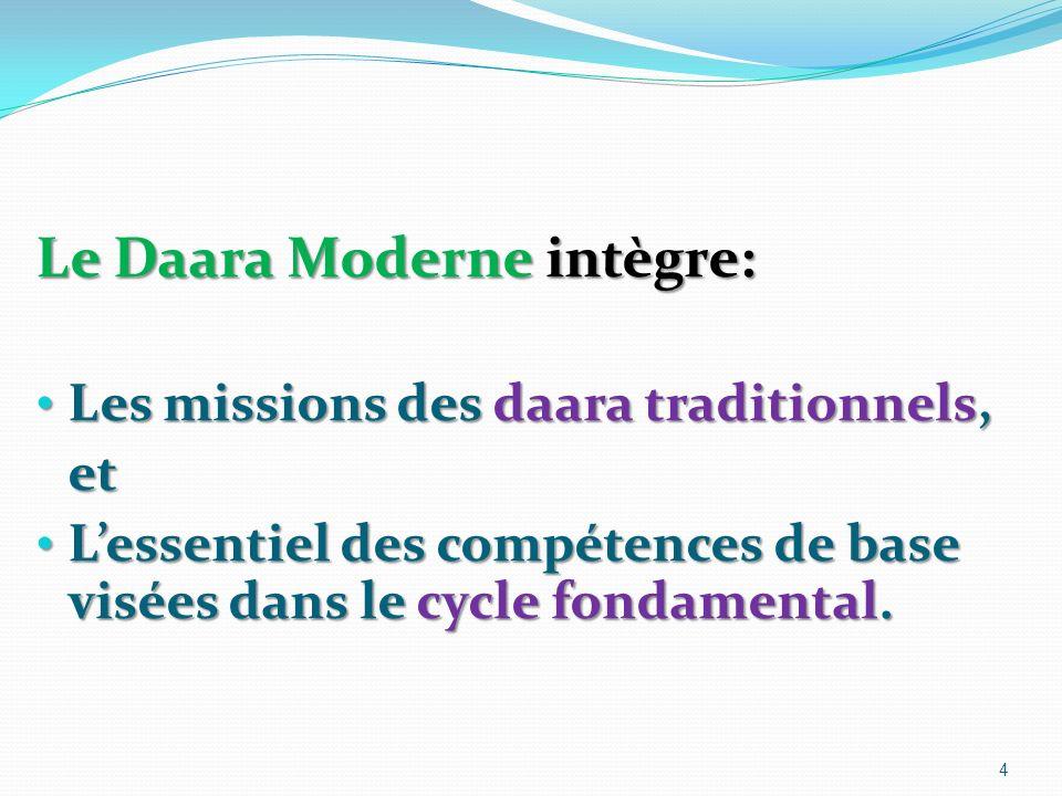 Le Daara Moderne intègre: Les missions des daara traditionnels, Les missions des daara traditionnels,et Lessentiel des compétences de base visées dans le cycle fondamental.