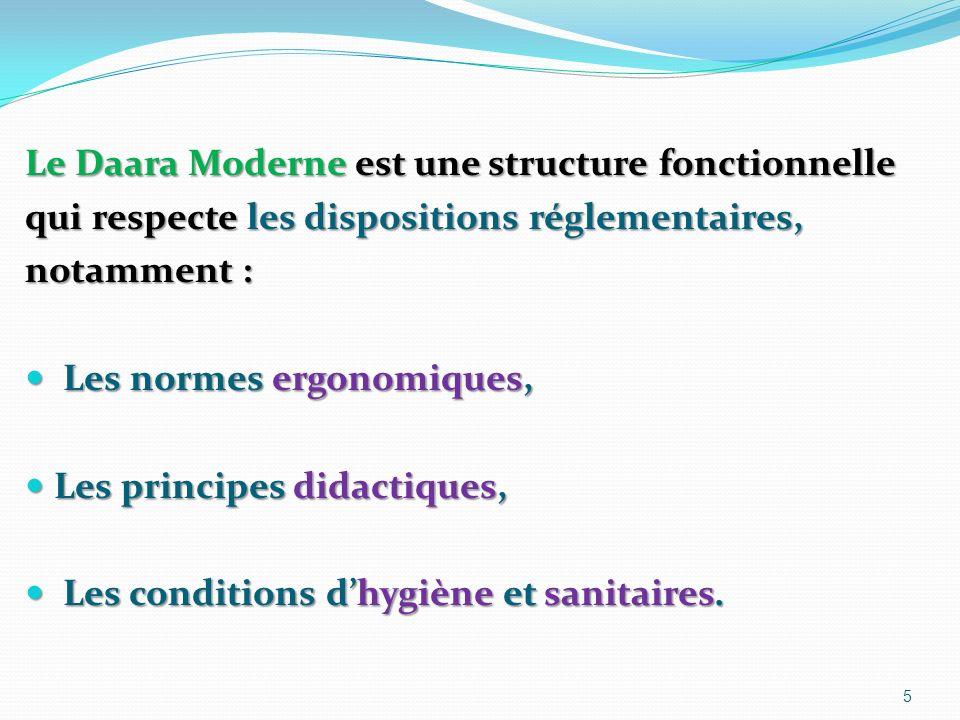 Le Daara Moderne est une structure fonctionnelle qui respecte les dispositions réglementaires, notamment : Les normes ergonomiques, Les normes ergonomiques, Les principes didactiques, Les principes didactiques, Les conditions dhygiène et sanitaires.