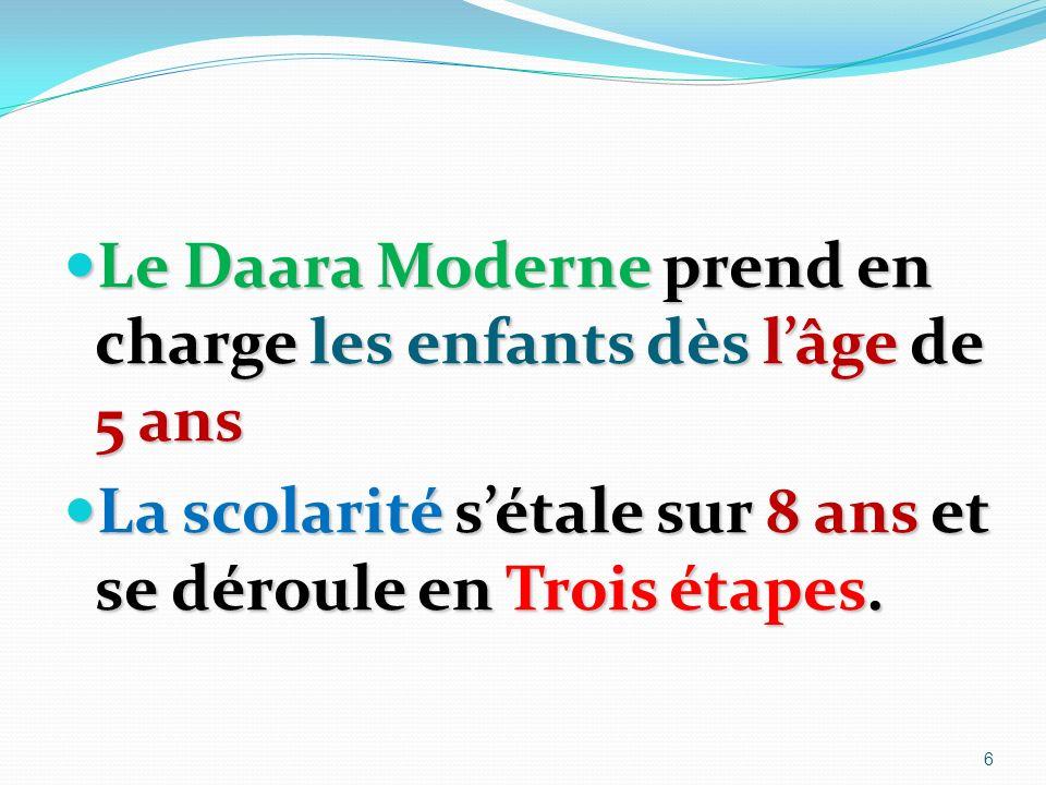 Le Daara Moderne prend en charge les enfants dès lâge de 5 ans Le Daara Moderne prend en charge les enfants dès lâge de 5 ans La scolarité sétale sur 8 ans et se déroule en Trois étapes.