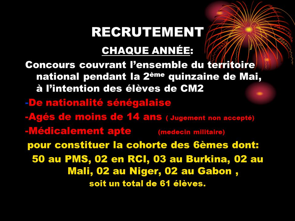 Les pays représentés Sénégal Burkina Faso Benin RCI RCA Tchad Guinée Equatoriale Maroc Cameroun Mauritanie Mali Gabon France Italie Maroc Guinée Conakry