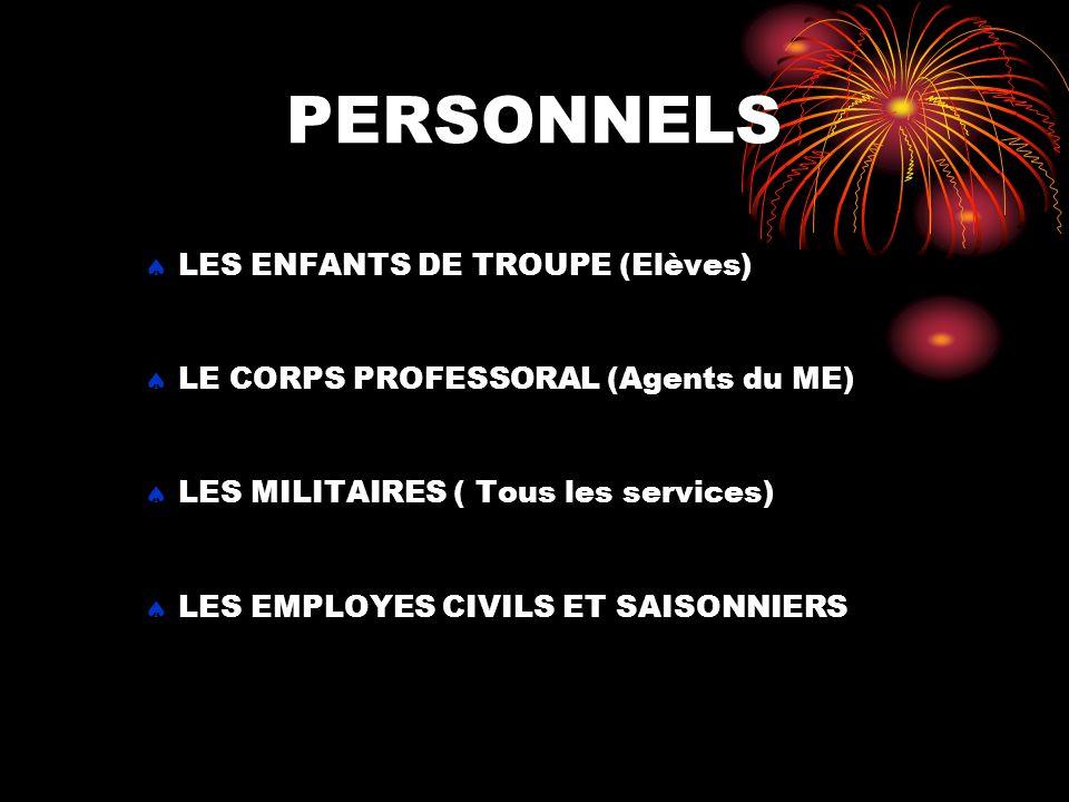 PERSONNELS LES ENFANTS DE TROUPE (Elèves) LE CORPS PROFESSORAL (Agents du ME) LES MILITAIRES ( Tous les services) LES EMPLOYES CIVILS ET SAISONNIERS