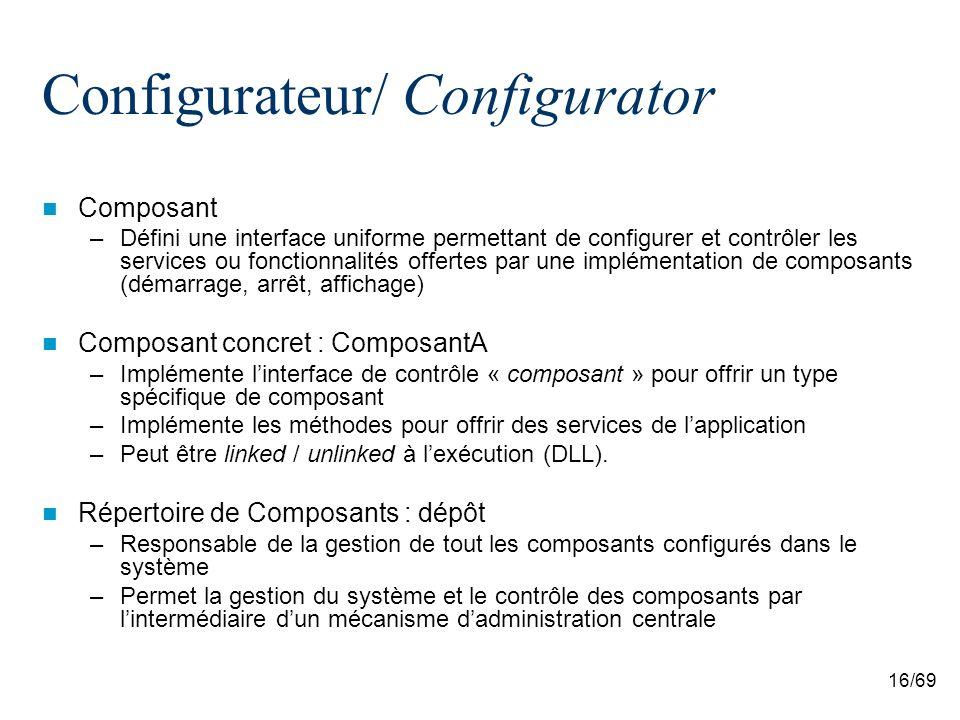 16/69 Configurateur/ Configurator Composant –Défini une interface uniforme permettant de configurer et contrôler les services ou fonctionnalités offertes par une implémentation de composants (démarrage, arrêt, affichage) Composant concret : ComposantA –Implémente linterface de contrôle « composant » pour offrir un type spécifique de composant –Implémente les méthodes pour offrir des services de lapplication –Peut être linked / unlinked à lexécution (DLL).