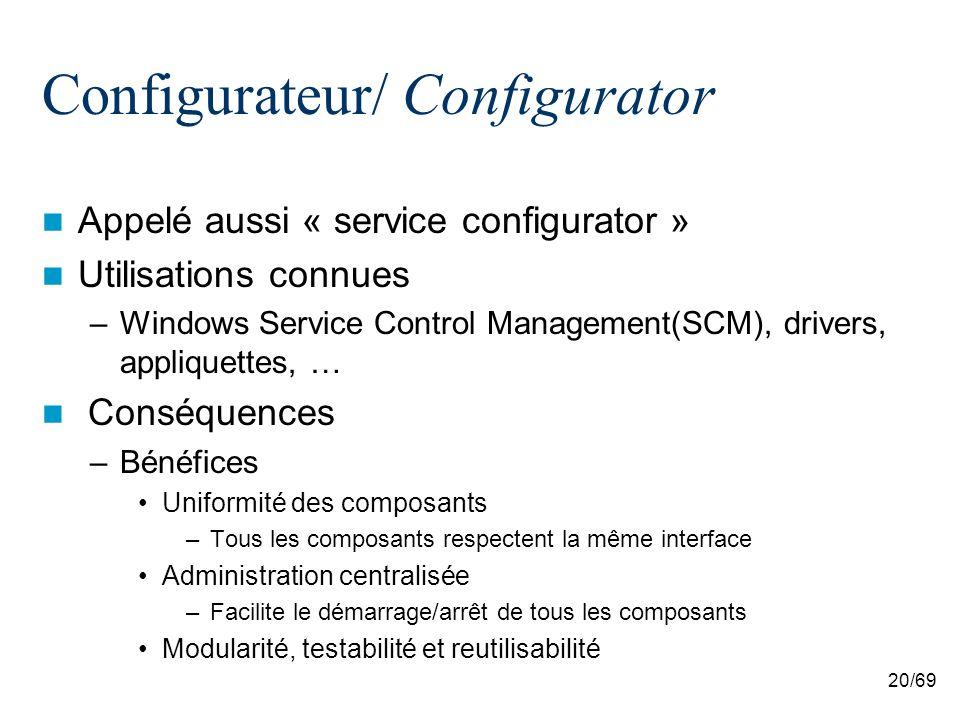 20/69 Configurateur/ Configurator Appelé aussi « service configurator » Utilisations connues –Windows Service Control Management(SCM), drivers, appliquettes, … Conséquences –Bénéfices Uniformité des composants –Tous les composants respectent la même interface Administration centralisée –Facilite le démarrage/arrêt de tous les composants Modularité, testabilité et reutilisabilité