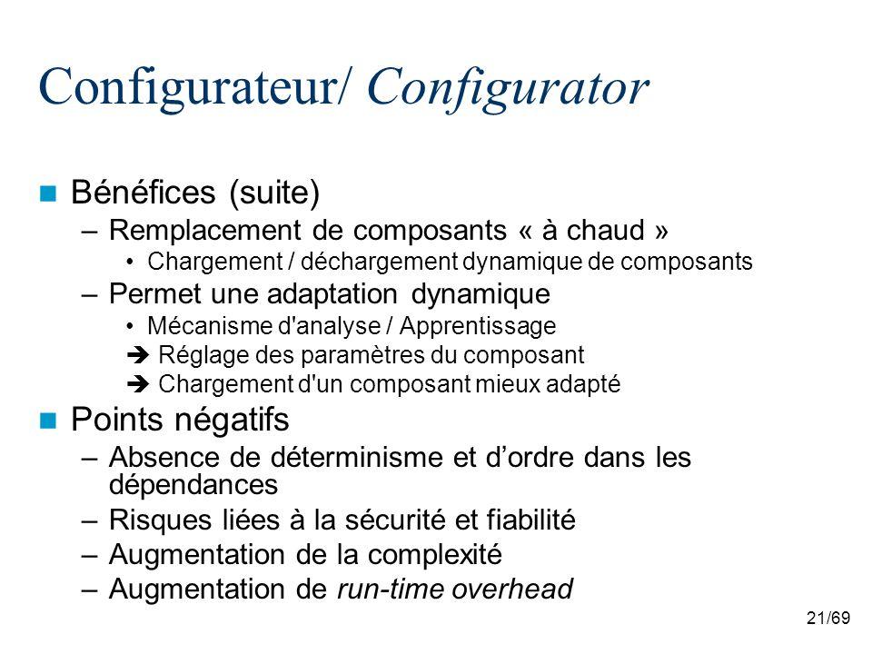 21/69 Configurateur/ Configurator Bénéfices (suite) –Remplacement de composants « à chaud » Chargement / déchargement dynamique de composants –Permet une adaptation dynamique Mécanisme d analyse / Apprentissage Réglage des paramètres du composant Chargement d un composant mieux adapté Points négatifs –Absence de déterminisme et dordre dans les dépendances –Risques liées à la sécurité et fiabilité –Augmentation de la complexité –Augmentation de run-time overhead