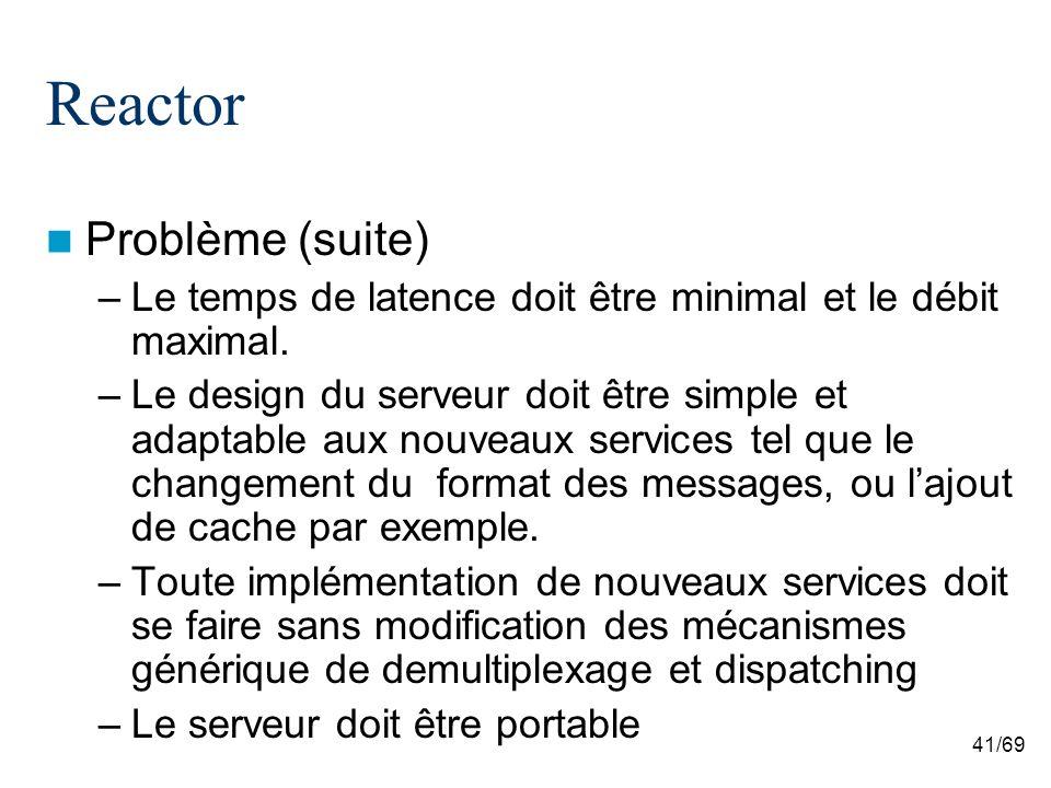 41/69 Reactor Problème (suite) –Le temps de latence doit être minimal et le débit maximal.