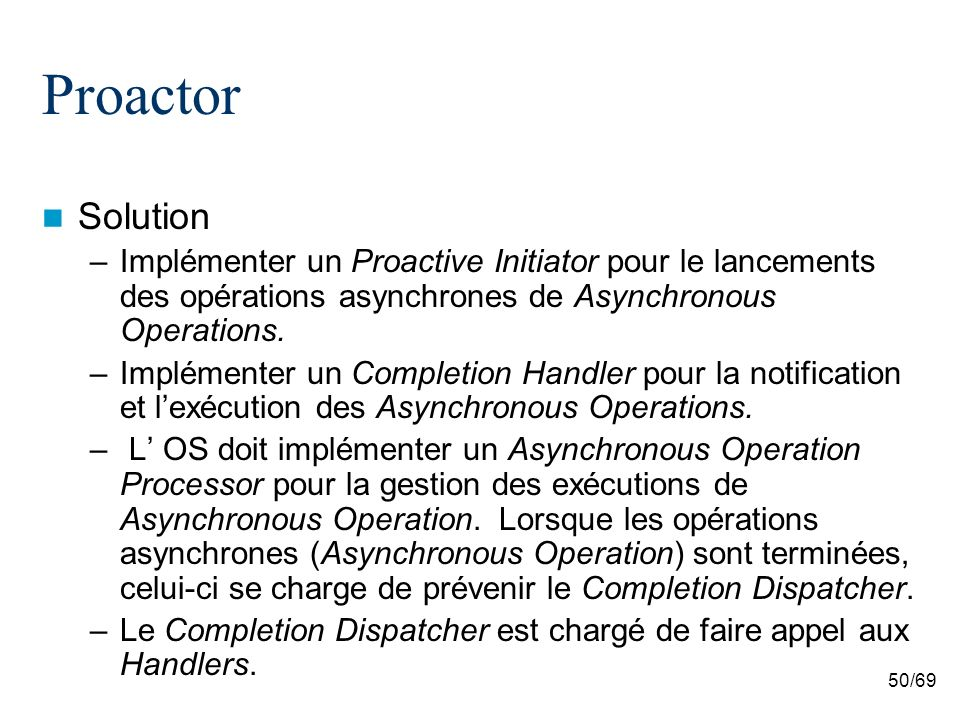 50/69 Proactor Solution –Implémenter un Proactive Initiator pour le lancements des opérations asynchrones de Asynchronous Operations.
