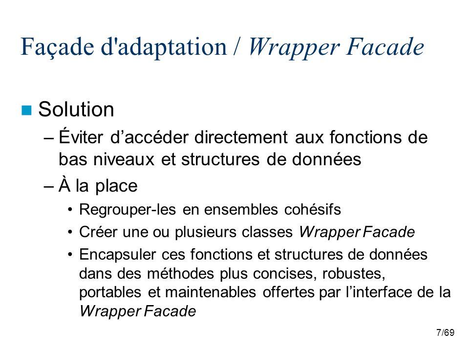 8/69 Façade d adaptation / Wrapper Facade Deux acteurs : Wrapper Facade et classes de fonctions