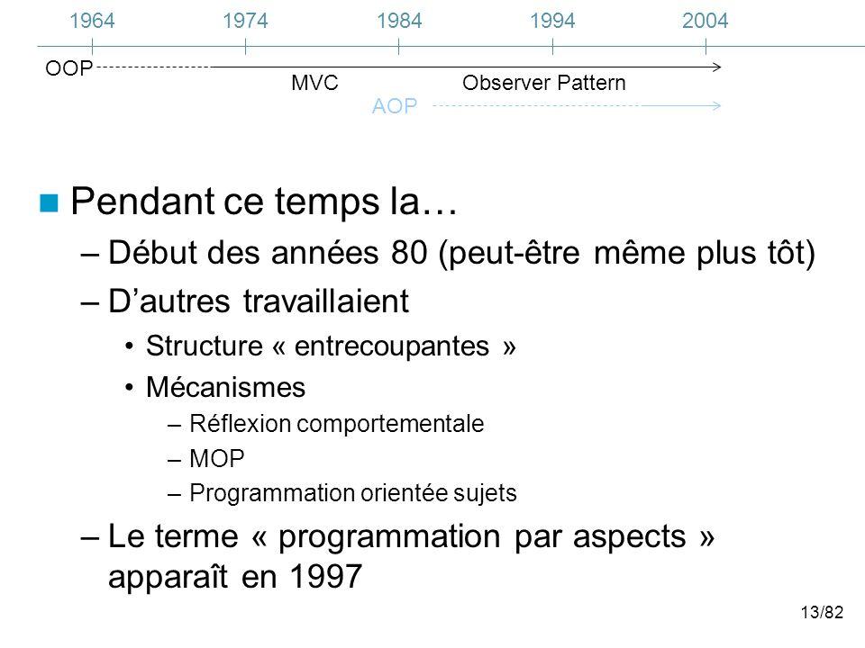 13/82 Pendant ce temps la… –Début des années 80 (peut-être même plus tôt) –Dautres travaillaient Structure « entrecoupantes » Mécanismes –Réflexion comportementale –MOP –Programmation orientée sujets –Le terme « programmation par aspects » apparaît en 1997 19641974200419841994 MVCObserver Pattern AOP OOP