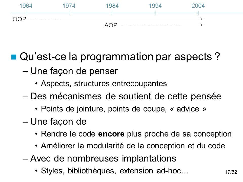 17/82 Quest-ce la programmation par aspects ? –Une façon de penser Aspects, structures entrecoupantes –Des mécanismes de soutient de cette pensée Poin