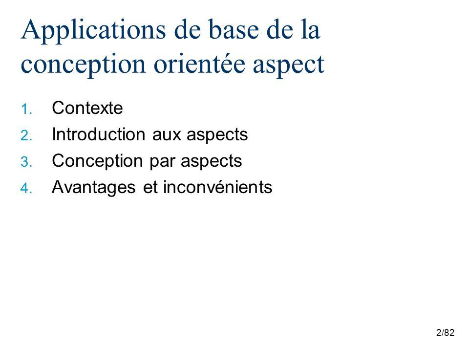 2/82 Applications de base de la conception orientée aspect 1. Contexte 2. Introduction aux aspects 3. Conception par aspects 4. Avantages et inconvéni