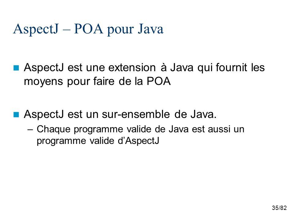 35/82 AspectJ – POA pour Java AspectJ est une extension à Java qui fournit les moyens pour faire de la POA AspectJ est un sur-ensemble de Java.