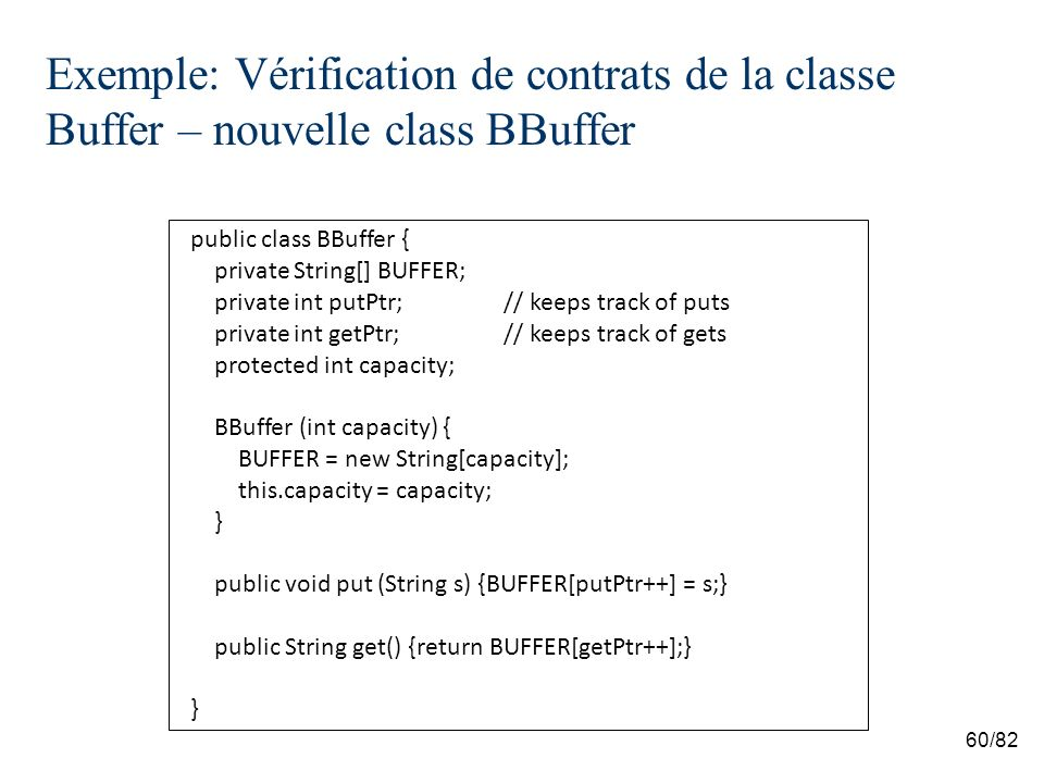 60/82 Exemple: Vérification de contrats de la classe Buffer – nouvelle class BBuffer public class BBuffer { private String[] BUFFER; private int putPtr;// keeps track of puts private int getPtr;// keeps track of gets protected int capacity; BBuffer (int capacity) { BUFFER = new String[capacity]; this.capacity = capacity; } public void put (String s) {BUFFER[putPtr++] = s;} public String get() {return BUFFER[getPtr++];} }