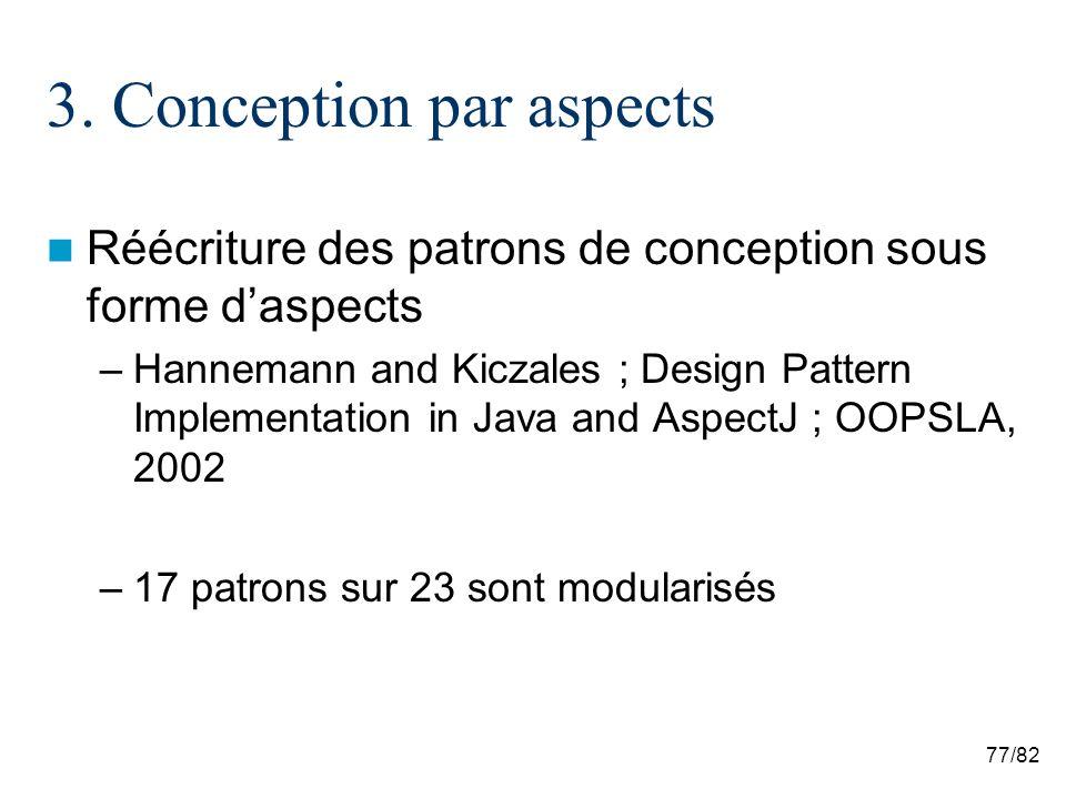 77/82 3. Conception par aspects Réécriture des patrons de conception sous forme daspects –Hannemann and Kiczales ; Design Pattern Implementation in Ja