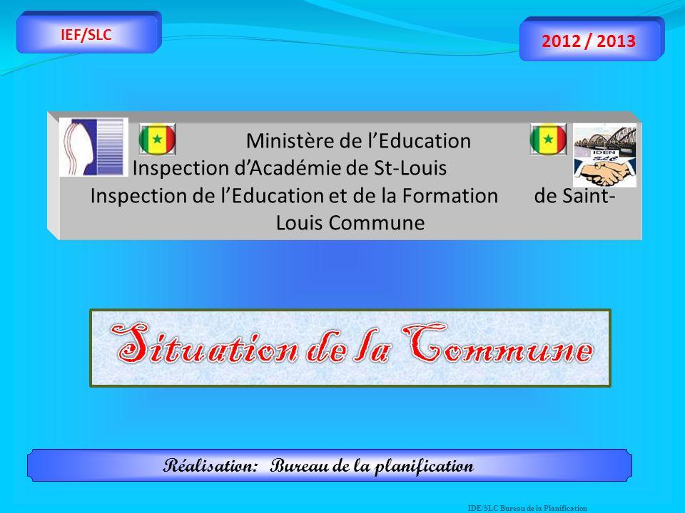 Ministère de lEducation Inspection dAcadémie de St-Louis Inspection de lEducation et de la Formation de Saint- Louis Commune IDE/SLC Bureau de la Plan