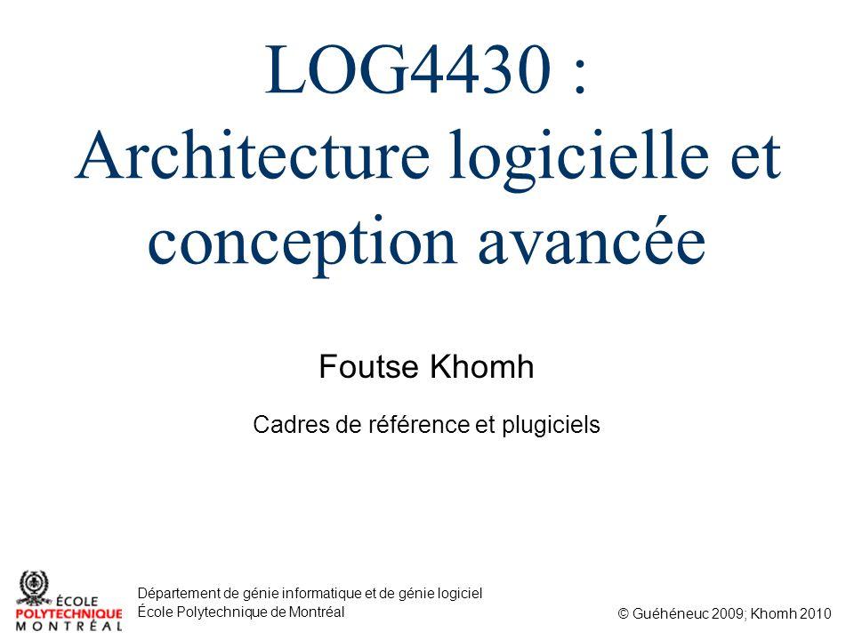 Foutse Khomh © Guéhéneuc 2009; Khomh 2010 Département de génie informatique et de génie logiciel École Polytechnique de Montréal LOG4430 : Architectur