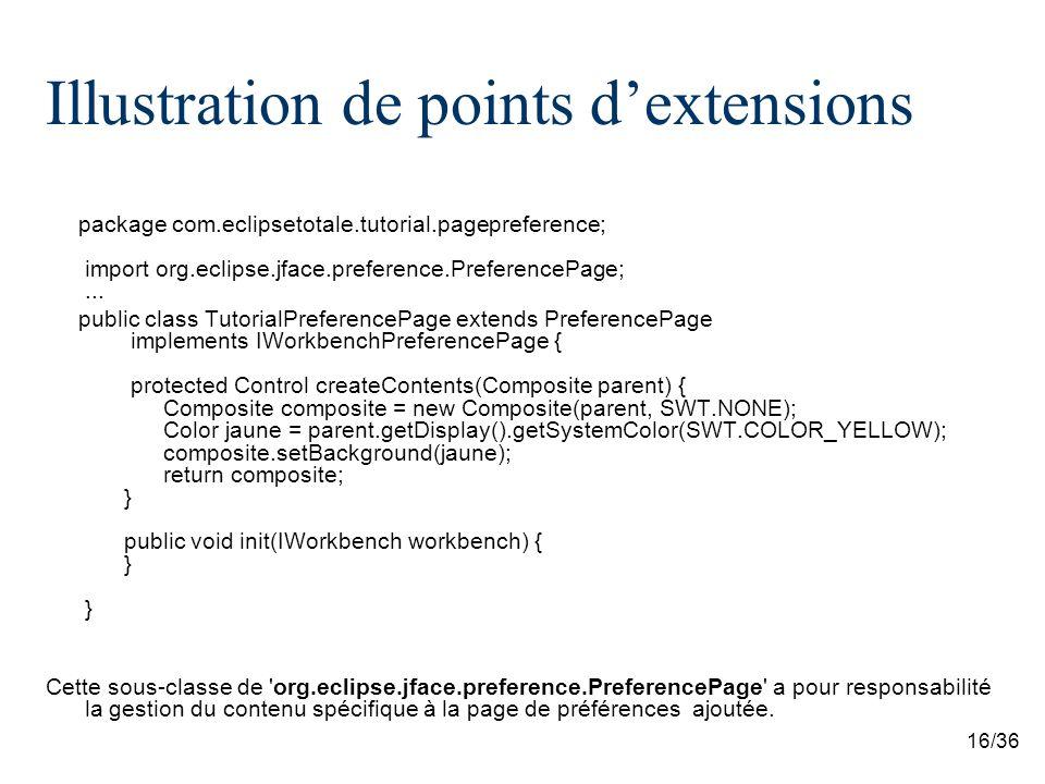 16/36 Illustration de points dextensions package com.eclipsetotale.tutorial.pagepreference; import org.eclipse.jface.preference.PreferencePage;... pub