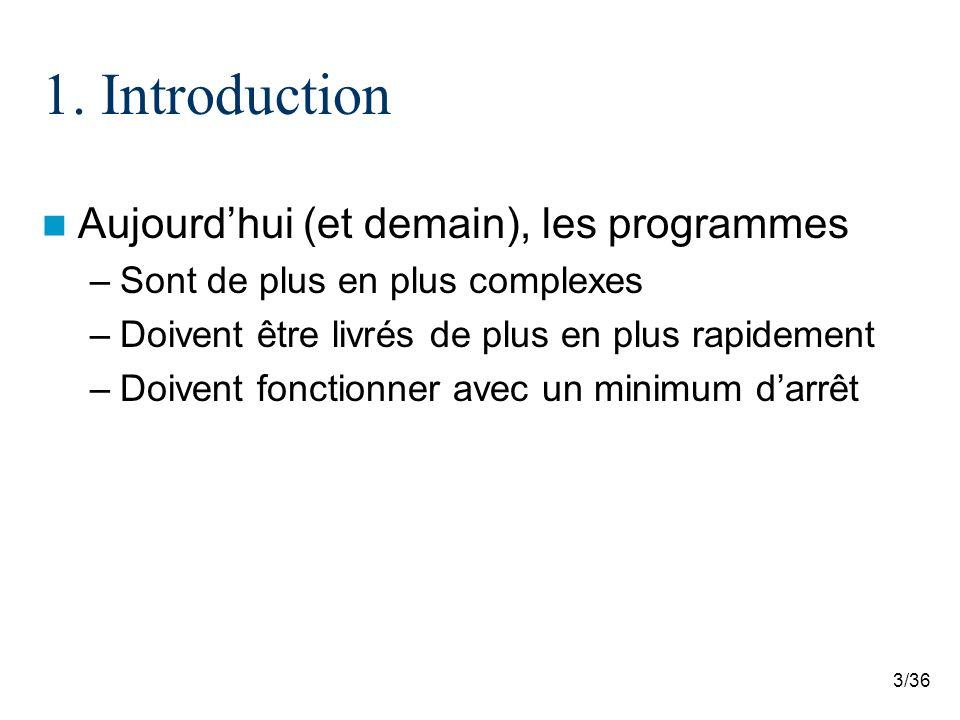 3/36 1. Introduction Aujourdhui (et demain), les programmes –Sont de plus en plus complexes –Doivent être livrés de plus en plus rapidement –Doivent f