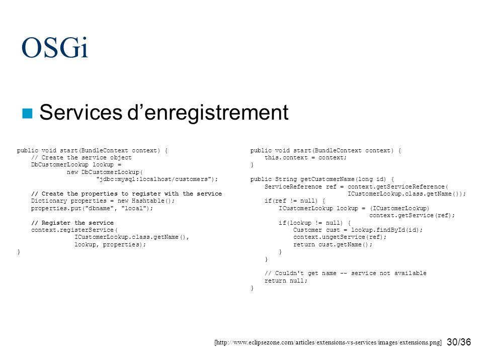 30/36 OSGi Services denregistrement [http://www.eclipsezone.com/articles/extensions-vs-services/images/extensions.png] public void start(BundleContext