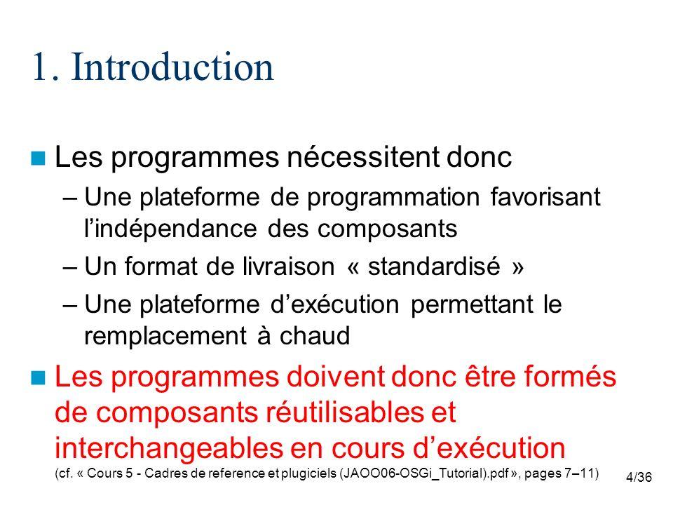 4/36 1. Introduction Les programmes nécessitent donc –Une plateforme de programmation favorisant lindépendance des composants –Un format de livraison