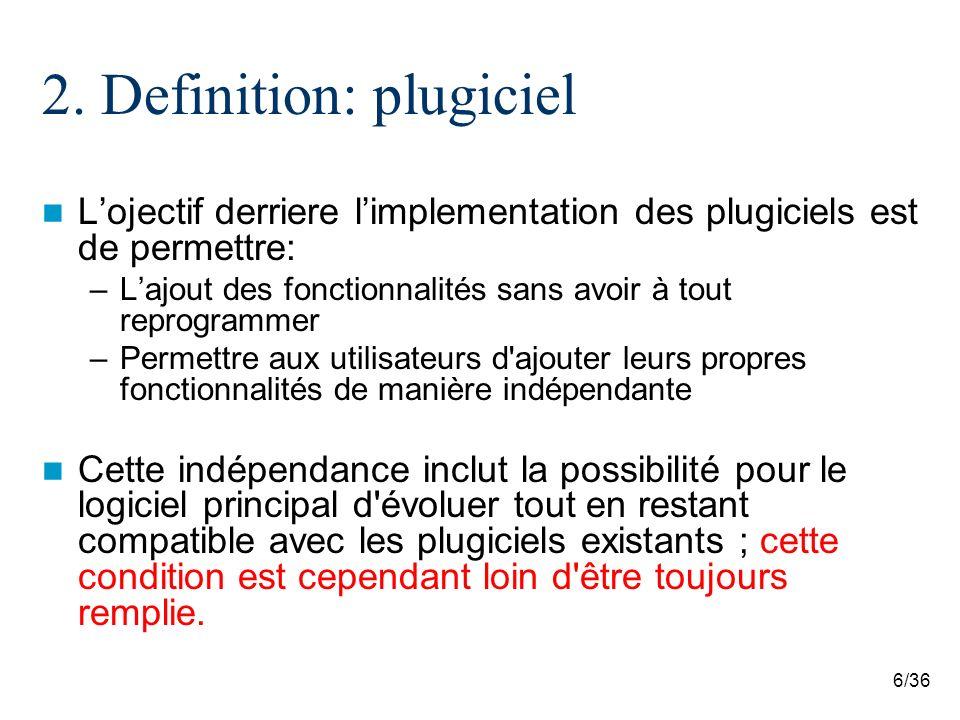6/36 2. Definition: plugiciel Lojectif derriere limplementation des plugiciels est de permettre: –Lajout des fonctionnalités sans avoir à tout reprogr