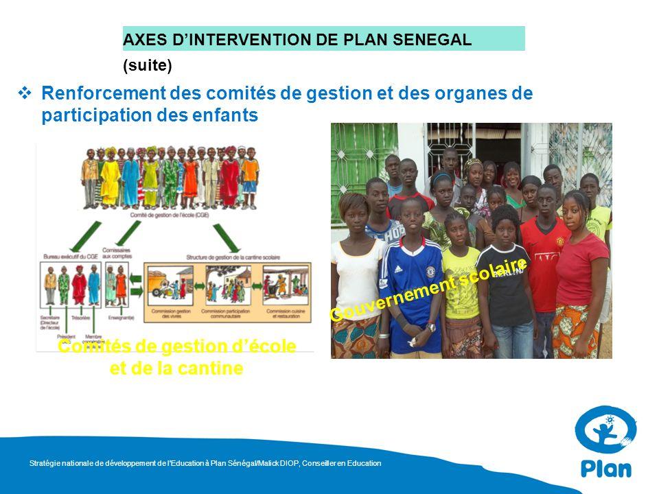 AXES DINTERVENTION DE PLAN SENEGAL (suite) Renforcement des comités de gestion et des organes de participation des enfants Gouvernement scolaire Comit
