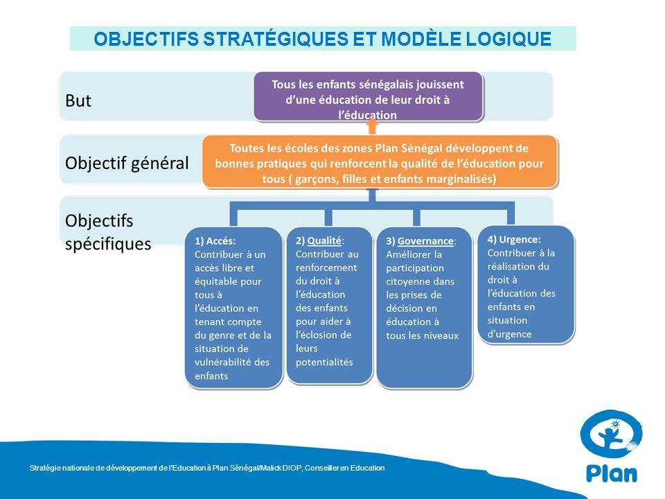 OBJECTIFS STRATÉGIQUES ET MODÈLE LOGIQUE Stratégie nationale de développement de l'Education à Plan Sénégal/Malick DIOP, Conseiller en Education