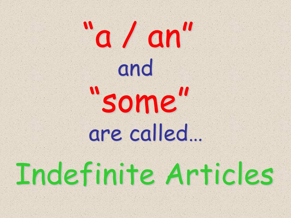 a / an a / an and and some some are called… are called… Indefinite Articles